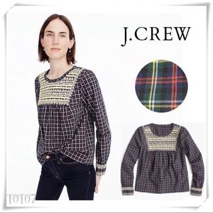 J.Crew Embroidered Peasant Top in Plaid Blouse